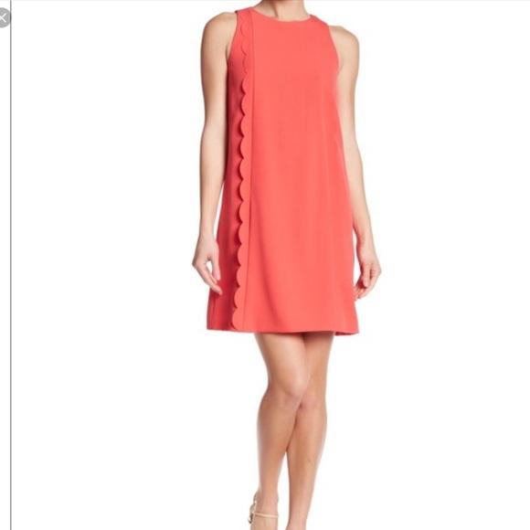ecbce7898e8d Tahari Dresses | Asl Sz12 Coral Scalloped Ruffle Shift Dress | Poshmark